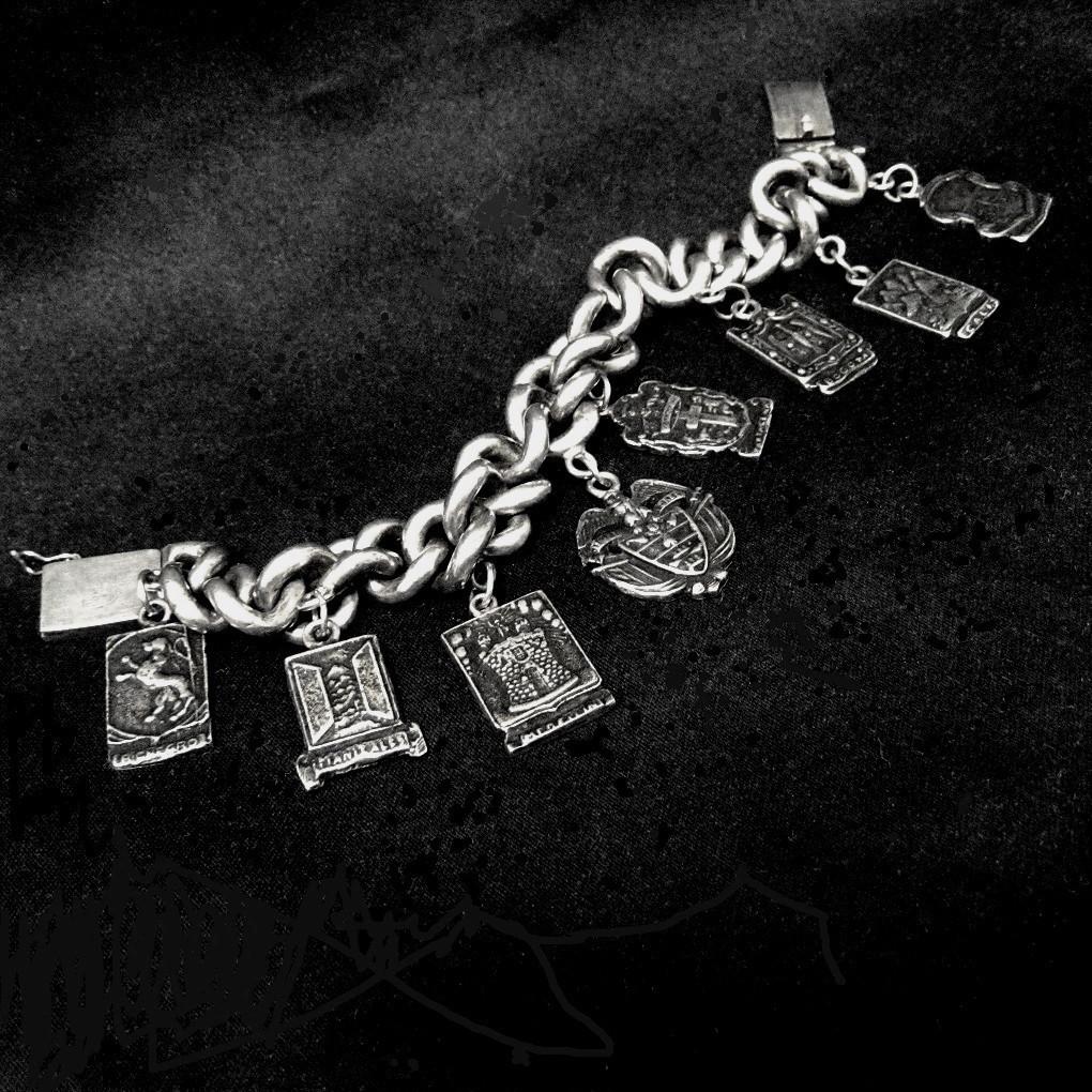 Heavy 900 Silver Heraldic Charm Bracelet