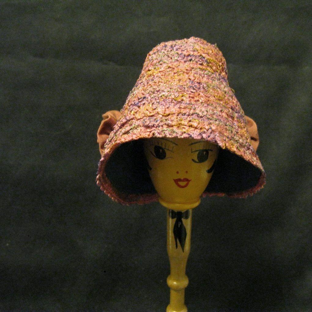 Vintage Beribboned Poke Bonnet Doll Hat