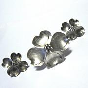 Stuart Nye Sterling Pin / Earrings Set