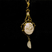 Edwardian Lavaliere, Cameo / Freshwater Pearl