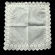 Embroidered White Work Wedding Hanky