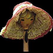 Dark Cerise Straw Poke Bonnet Doll Hat