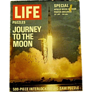 """1969 Jigsaw Puzzle, """"Apollo-Saturn Rocket LIfts off from Cape Kennedy"""", a Life Puzzle"""