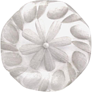 Clear Carved Flower Lucite Button, Metal Shank