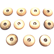 """Eleven Mother of Pearl 3/4"""" Buttons, Peach Tinted"""