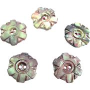 Five Hand Carved Pre 1900 MOP Lavender Tinted Sewing Buttons