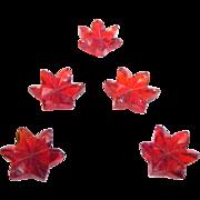 Translucent Bright Scarlet Glass Petaled Flower Buttons