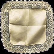 Vintage Ecru Lace Edged Silk Wedding Hankie