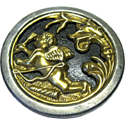Large Victorian Picture Button, Cupid with Bow and Arrow