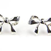 Silver Bow Earrings - Bow Jewelry - Silver Earrings - Bow