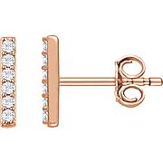 Vertical Bar Earrings - Diamond Bar Earrings - Rose Gold Earrings - Diamond Earrings - Everyday Earrings - Trend Jewelry - Gold Earrings