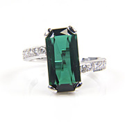 Tourmaline Ring - Tourmaline and Diamond Ring - Cocktail Ring - Large Gemstone Ring - Green Tourmaline Ring