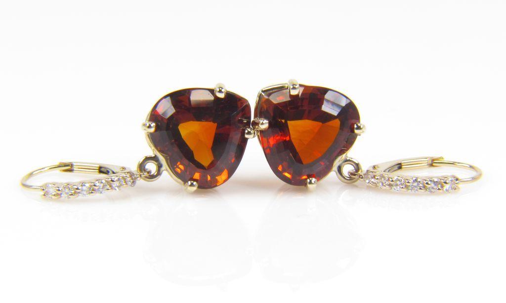 Citrine Earrings - Citrine and Diamond Gold Earrings