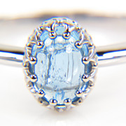 Oval Aquamarine Cabochon Ring in 14K White Gold Setting