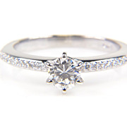 Diamond Engagement Ring - Round Diamond Ring - Solitaire Diamond - Wedding Ring