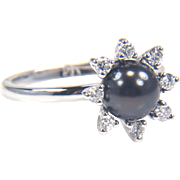 Black Pearl Ring - Diamond and Pearl Ring - Black Cultured Pearl Ring - Diamond Cluster Ring - White Gold Pearl Ring