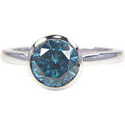 Round Blue  Zircon Ring in 14K White Gold