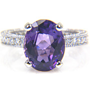 Oval Amethyst Ring and Diamond Ring in 14K White Gold - February Birthstone Ring - Cocktail Ring
