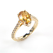 Pear Shape Citrine Ring - Citrine Ring - November Birthstone Diamond Ring - Rings - Yellow Gold Ring
