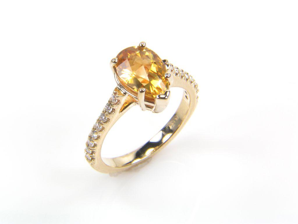 Pear Shape Citrine Ring - Citrine Ring - November Birthstone Diamond Ring - Rings - Yellow Gold Ring