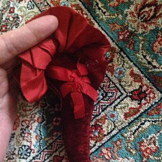 Wonderful novelty antique Victorian pincushion - red velvet leg with garter