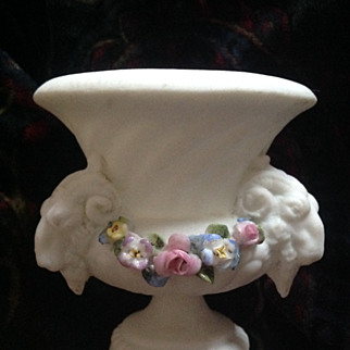 Beautiful miniature antique French classical urn with garlands -  a period doll house or french fashion accessory