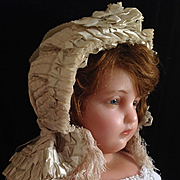 TRULY SPECTACULAR antique Victorian silk doll or baby bonnet / hat