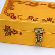 Bakelite Jewelry Box, Painted and Etched Floral Design