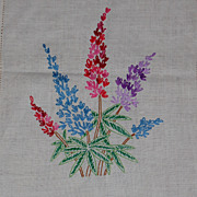 Vintage Embroidered Lupine Table Scarf or Runner