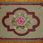 Vintage Floral Hooked Rug with Roses