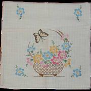 Embroidered Floral Dresser Scarf on Linen