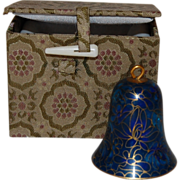 SALE Vintage Cloisonne Bell Ornament with Fabric Gift Box