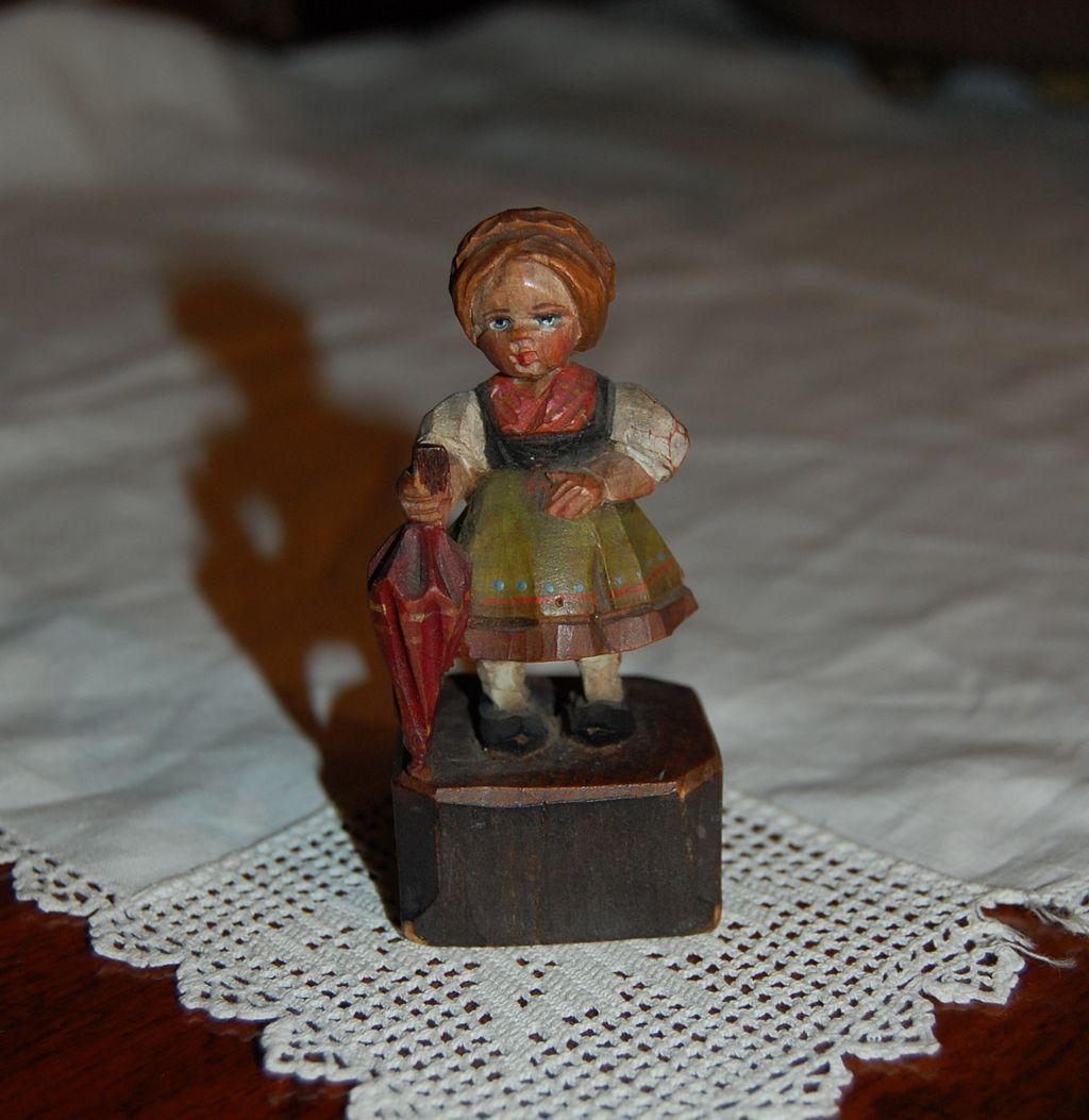 Vintage Black Forest Bavarian Wooden Girl Carved and Painted