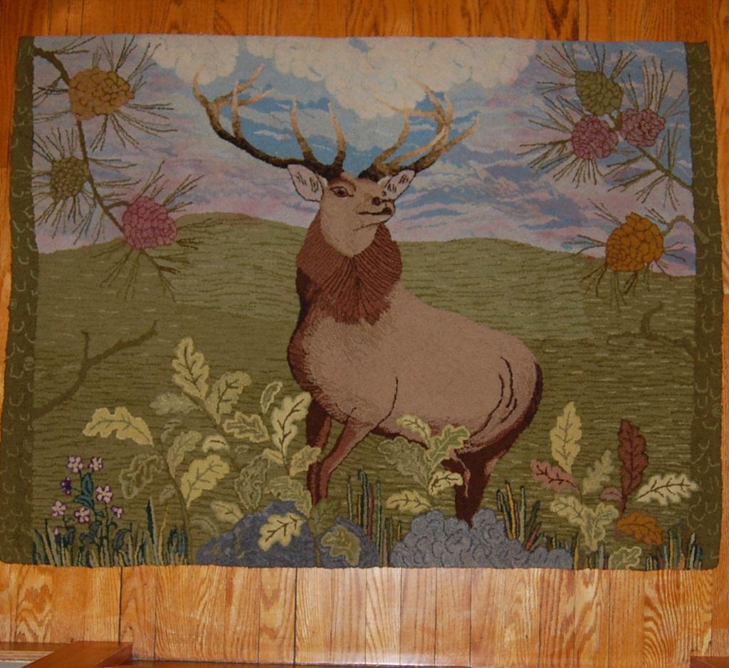 Amazing 'Monarch of the Glen' Deer Hooked Rug