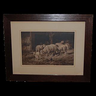 REDUCED Vintage Prang Guyot Print of Sheep in Barnyard