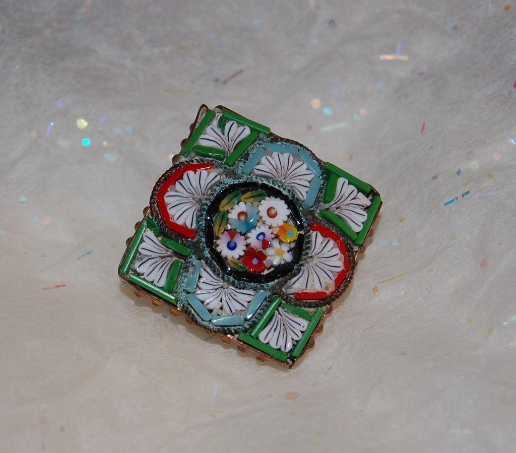 Vintage Italian Micro Mosaic Pin