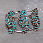 Sterling and Turquoise Petit Point Cuff Bracelet