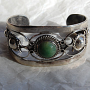 Vintage Mexican Silver Cuff Bracelet with stone