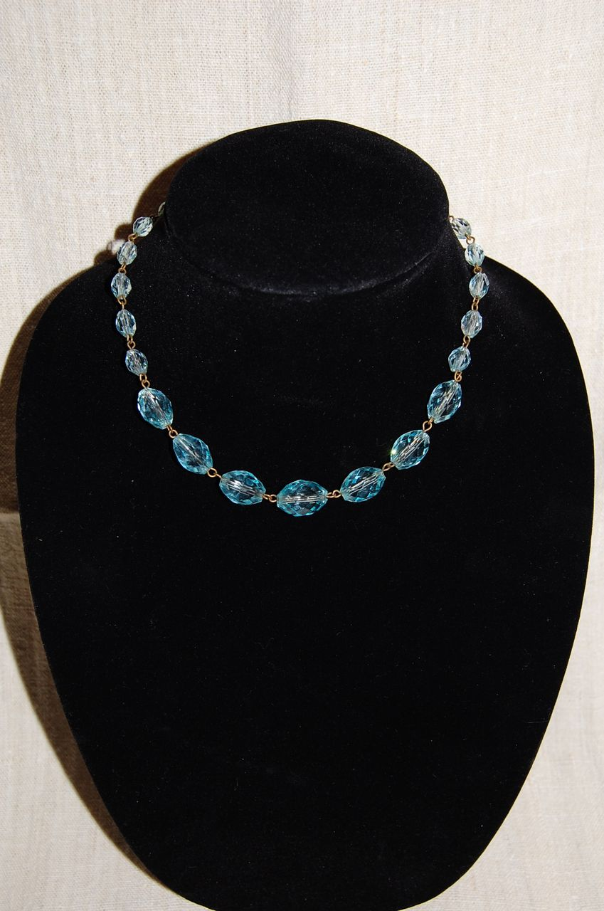 Pale Aqua Faceted Crystal Bead Necklace Sterling Clasp