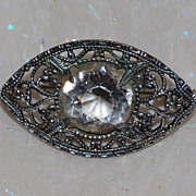 Antique Paste Stone and Silver-tone Pin or Brooch