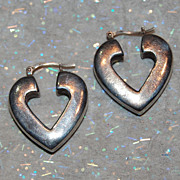 Heart Shape Sterling Hollow Hoop Earrings