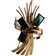 14k Gold and Green Tourmaline Mid 20th Century Brooch