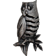 Tiny Pewter Owl Pin Brooch