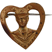 """Vintage Sweetheart Navy Sailor Pin Marked """"Somewhere"""""""