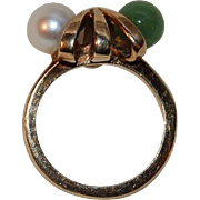 10K Gold Pearl and Nephrite Jade Dason Pinky Ring
