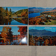 4 Vintage Lake Placid Photographic Postcards