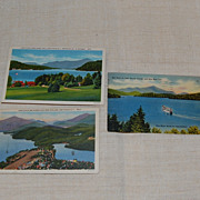 3 Vintage Lake Placid Scenic Postcards 1940's