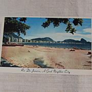 Vintage Postcard of Rio De Janeiro Copacabana Beach