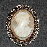 1950s Carved Shell Cameo ~ 12K Gold Filled Pin/Brooch
