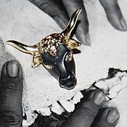 Vintage Matte Black Enamel Steer Goldtone Tie Tack